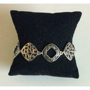 Lia Sophia Silver Tone Square Link Ornate Bracelet